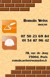 Cartes de visite ma�on 739 - 142
