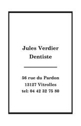 Cartes de visite personnelle 485 - 230